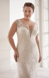Elegant Detachable Plus Size Plunging V-neck Cap Sleeve Lace Bridal Gown