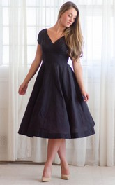 V-neck Short Sleeve A-line Tea-length Dress