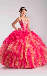 Beaded Pick-Ups Ruffled Sweetheart Strapless Ball Gown