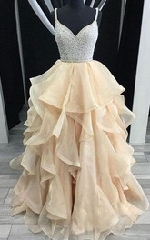 Spaghetti Organza Sequins Sleeveless Floor-length Beading Pleats Ruffles Dress