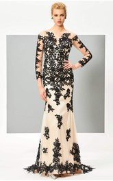 Illusion 3/4 Sleeve Two Tune Mermaid Gown With Floral Appliques And Button Back