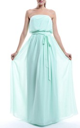 Strapless Floor-length Chiffon Dress With bow And Zipper