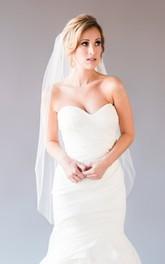 Simple Plain Tulle Single Layer Wedding Veil with Hair Comb