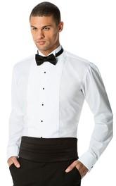 Slim White Pleated Wingtip Shirt