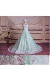 Sleeveless Lace-Up Back Ball-Gown Princess Dress