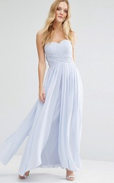 Sweetheart Ruched Ankle-length Chiffon Dress With Zipper