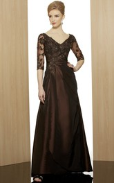Short-Sleeve Rhinestone Formal Ankle-Length Column Satin Gown