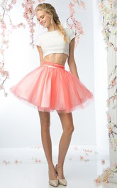 A-Line Satin Tulle Beaded Short Mini Short Jewel-Neck Mini-Sleeve Dress