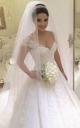 V-Neckline Long Train Beaded Luxury Lace Gown
