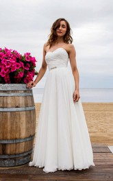 Sweetheart Ruched A-line Chiffon Wedding Dress With Corset Back
