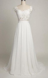 Cap Chiffon 3-4-Length A-Line Lace Backless Dress