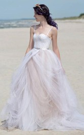 Spaghetti-strap Tulle A-line draped Dress With Lace top And Corset Back