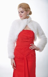 Long Sleeve High-Neck Faux Fur Bridal Jacket