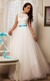 Taffeta Rhinestone Embroideries Lace Tulle Wedding Gown