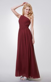 One Shoulder Long Chiffon Formal Dress with Keyhole Back