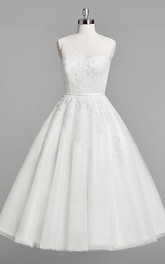 A-Line Tea-Length Sleeveless V-Neckline Wedding Lace Dress