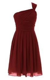 One-shoulder Chiffon Ruched short Bridesmaid Dress With Zipper