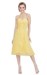 Tea-Length Pleated Sleeveless Sweetheart Chiffon Dress