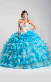 Sweetheart Detachable Cape Layered Ruffled Strapless Ball Gown