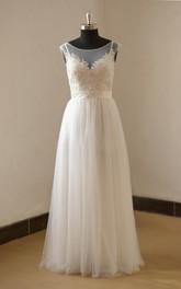 Cap-Sleeve Satin Sash Tulle A-Line Gown