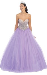 Sweetheart Jeweled Strapless Sleeveless Backless Tulle Ball Gown