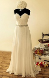 Satin Beaded Sequined Lace Chiffon Wedding Dress