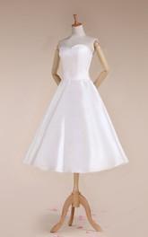Satin Lace-Up Back 3-4-Length Sweetheart Bridal Dress
