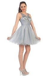 Scoop-neck Sleeveless Tulle Ruffled A-line Dress With Beading And Illusion back