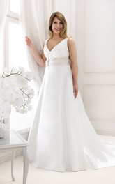 Plunged Sleeveless A-line Satin plus size wedding dress With Ruched waist