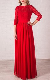 Bateau Lace 3-4-sleeve Floor-length Dress With bow