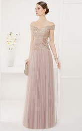 Off-the-shoulder Sheath long Pleated Dress With Flower And Lace