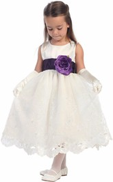 Organza Embroidery Floral Tea-Length Flower Girl Dress
