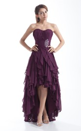Cascading-Ruffled Jewel Ruched Chiffon Dress