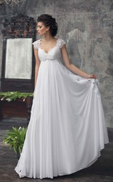 Chiffon Pleated Appliques Cap-Sleeve Empire Dress