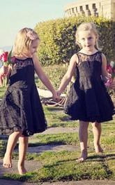 Lace Midi-Length Sleeveless For-Toddlers Flower Girl Dress