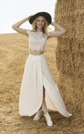 Two-piece Wedding Dress With Short Sleeve Lace Top And Front Split Chiffon Skirt