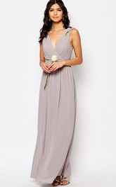 Ankle-Length Beaded Sleeveless V-Neck Chiffon Bridesmaid Dress With Ruching