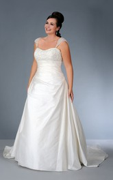 Cap-sleeve Satin side-ruched A-line Dress With Beading And Corset Back