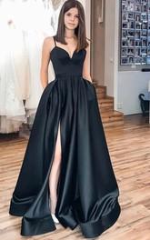 Strapless V-neck Satin Sleeveless Floor-length Brush Train Evening Dress with Split Front