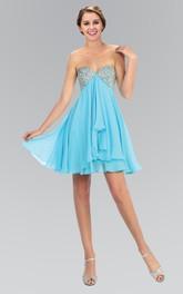 A-Line Backless Draping Jeweled Mini Sweetheart High-Waist Strapless Chiffon Dress