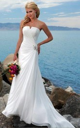 beach notched Strapless Chiffon Floor-length Dress With Draping