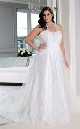 Haltered A-line Tulle Lace plus size wedding dress With Corset Back