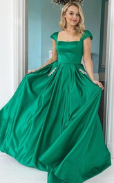 A Line Satin Square Short Sleeve Floor-length Prom Guest Evening Formal Dress