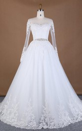 Long-Sleeve Rhinestone Broach Wedding Ball-Gown Princess Lace Dress