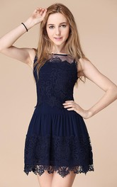 Sleeveless Lace Homecoming Illusion Newest Short Gown