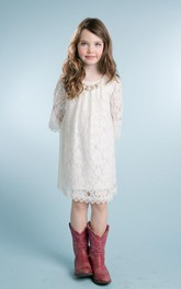 Jeweled Scalloped 3-4-Length Lace Flower Girl Dress