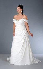 Off-the-shoulder Spaghetti Satin side-ruched Dress With Beading And Corset Back