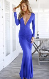 Long-Sleeve Open Back Prom V-Neckline Modern Trumpet Dress