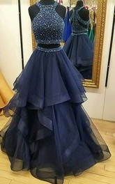 High Neck Organza Sleeveless Floor-length Beading Pleats Ruffles Tiers Dress