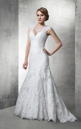 Plunged Cap-sleeve Lace Mermaid Wedding Dress With Court Train